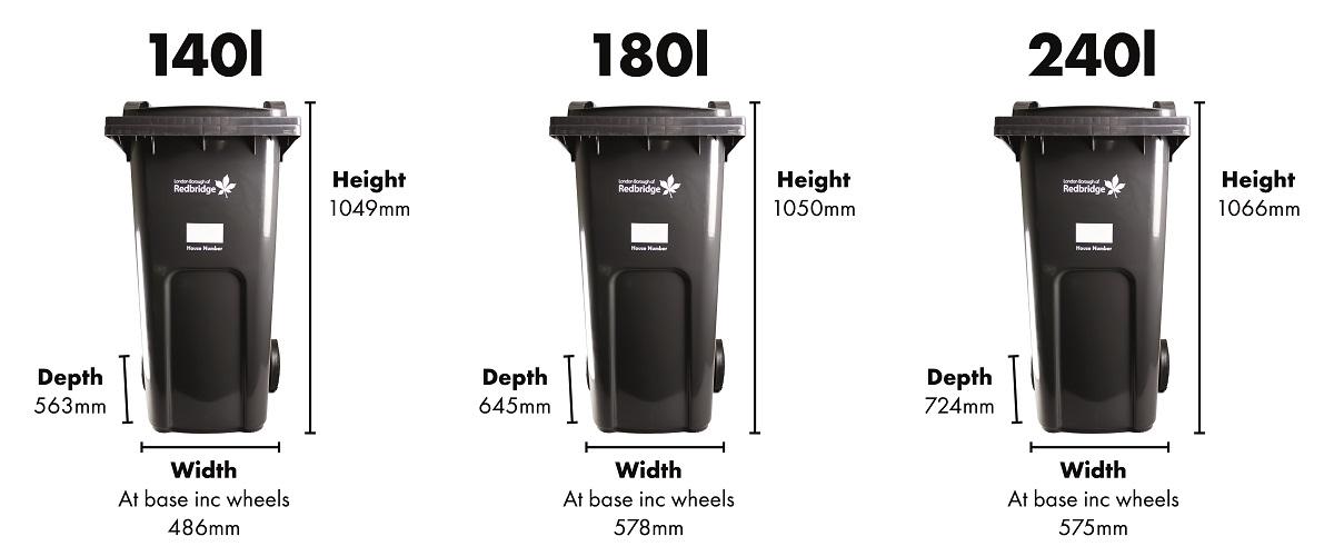 140L container 1049x486x563mm, 180L 1050x578x645mm, 240L 1066x575x724mm